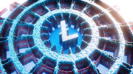 Digital Art Litecoin Logo Symbol. Cryptocurrency Futuristic 3D Illustration. Reklamní fotografie