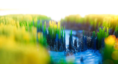Abstract colorful background. Digital nature art of green winter forest. Abstract 3d topographic nature landscape. 3D Rendering. Reklamní fotografie