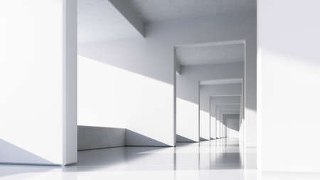 Abstract White Architecture Background. Bright clean interior. Empty open plan interior. 3d illustration