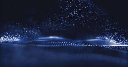Wave of particles. Data technology abstract futuristic illustration. Low poly shape with connecting dots on dark background. 3D rendering. Big data visualization. Futuristic blue dots background Reklamní fotografie