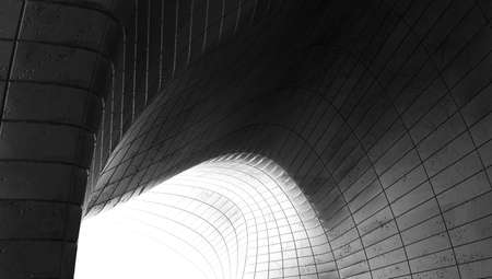 Abstract modern architecture. Gray concrete background. Geometric tunnel. 3d rendering.