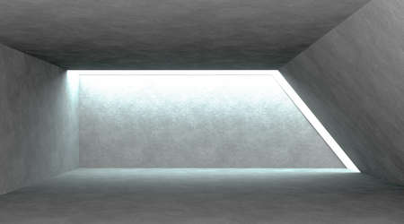 Abstract modern architecture. Gray concrete background. Geometric tunnel. Empty dark abstract concrete room interior. 3d rendering.