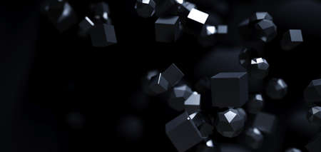 Abstract particles 3d black background. Flying polygonal spheres in dark space. Futuristic design. Poster or flyer background. 3D rendering.