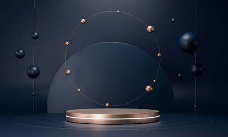 3D rendering round podium geometry with gold elements. Abstract geometric shape blank dark blue podium. Scene for product presentation. Empty showcase, pedestal platform display. 免版税图像