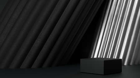 Black podium for product presentation. Abstract blank pedestal, platform for product display. 免版税图像