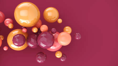 Pastel pink bubbles. Abstract background with 3d spheres. Colorful design concept. 3D illustration of balls.Banner or flyer background. Decoration elements for design.