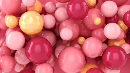 Abstract background with 3d spheres. Colorful design concept. Pastel pink bubbles. 3D illustration of balls. Banner or flyer background. Decoration elements for design