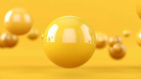 Abstract background with 3d spheres. Yellow bubbles. 3D illustration of balls. Colorful design concept. Banner or flyer background. Decoration elements for design