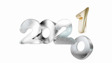 2021 3D numbers. New year background. 3D rendering