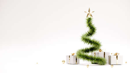 Happy New Year Background With Christmas tree and gifts. 3D rendering. 免版税图像
