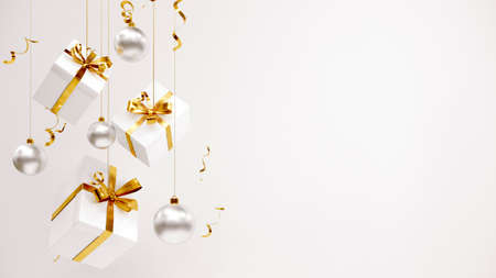 Happy New Year or Christmas Background With Gifts. 3D rendering