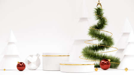 Happy New Year Background With Podium, Christmas tree and gifts. 3D rendering