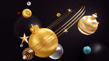 Happy New Year Background With Christmas Decorations 3D rendering