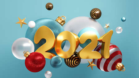 Happy New Year 2021 Background With Christmas Decorations 3D rendering