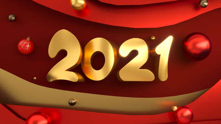 2021 3D numbers. Happy New Year or Christmas background. 3D rendering. 写真素材