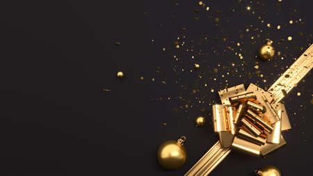 Happy New Year or Christmas background. Shiny golden ribbon with bow, 3d rendering 写真素材
