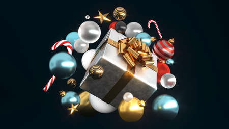 Happy New Year or Christmas gift box, holiday celebration accessory. Shiny luxury box with golden ribbon bow, 3d rendering.