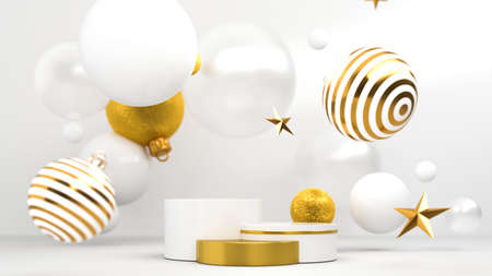 Happy New Year or Christmas Background With Podium and Christmas decorations. 3D rendering.