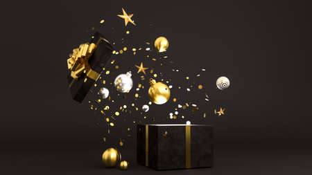 Opened luxury black gift box. Happy New Year or Christmas box with gifts, holiday celebration accessory. Shiny box with golden ribbon bow, 3d rendering