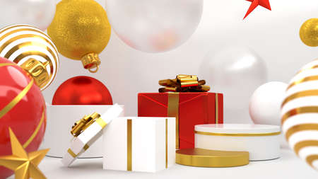 Christmas decorations with gifts. Happy New Year or Christmas Background With Podium and 3D rendering.