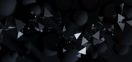 Abstractblack background with 3D particles. Flying polygonal spheres and objects in dark space, futuristic design. 写真素材
