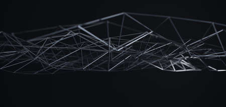 Abstract black science 3D background. Network connection structure.