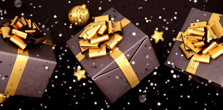 Luxury black gift box. Happy New Year or Christmas box, holiday celebration accessory top view. Shiny box with golden ribbon bow, 3d rendering