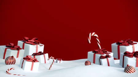 Happy New Year or Christmas red background with gift boxes and snow. Present boxes with red ribbon bow, 3d rendering