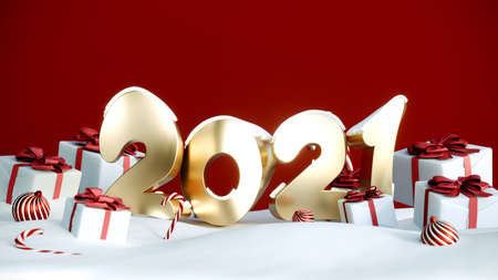 2021 Happy New Year or Christmas red background with gift boxes and snow. Present boxes with red ribbon bow, 3d rendering 写真素材