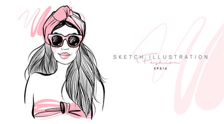Fashion girl hand drawn. Sketch woman in sunglasses. Stylish girl look