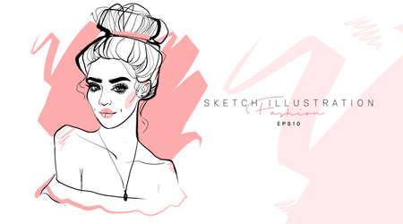 Fashion girl hand drawn. Sketch woman. Stylish girl look.  イラスト・ベクター素材