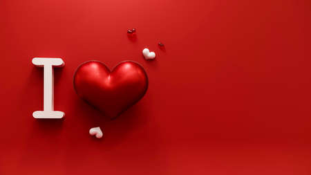 I love concept. Valentines day abstract background with red hearts. February 14, love. Romantic wedding greeting card. Womens, Mothers day. 3d rendering.