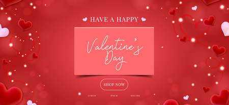 Valentine day sale banner background. Red hearts. Cute love banner or Valentines greeting card. Vector illustration. Illustration