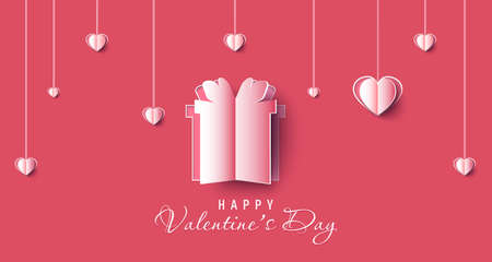 Valentine day sale banner background. Red hearts. Cute love banner or Valentines papercut greeting card. Vector illustration.