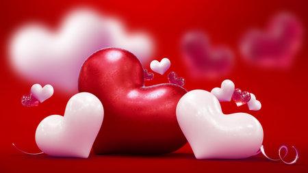 Happy Valentine day background. 3d rendering 版權商用圖片