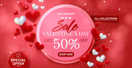 Valentines day big sale banner background for web-site header. Red hearts. Cute love banner or Valentines greeting card. Vector illustration. 向量圖像