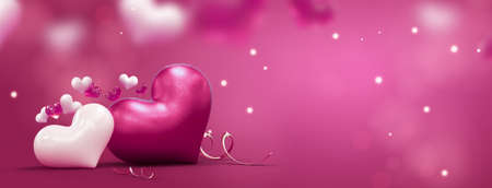 Happy Valentine day banner background with place for text. 3d rendering