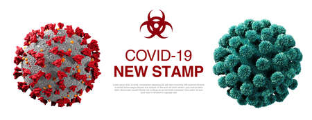 Coronavirus new stamp isolated on white. Close-up of coronavirus cells or bacteria molecule. Infectious flue. Bacteria, cell infected organism. Virus Covid-19. 3d Rendering 版權商用圖片