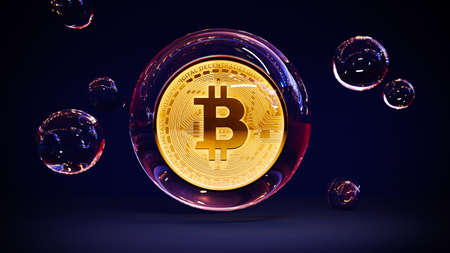 Bitcoin golden coin in bubble. Digital currency. Cryptocurrency collapse concept. Money and finance market crash. Crypto illustration. 3D rendering.
