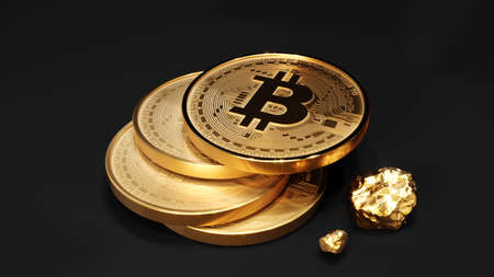 Bitcoin golden coin with gold. Digital currency. Cryptocurrency concept. Money and finance symbol. Crypto illustration. 3D rendering. 版權商用圖片