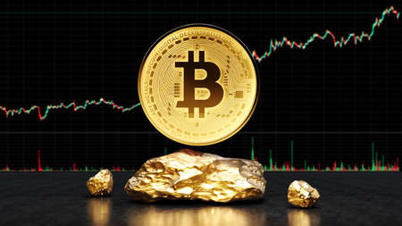 Bitcoin golden coin with gold. Digital currency. Cryptocurrency trading concept. Money and finance symbol. Crypto illustration. 3D rendering. 版權商用圖片
