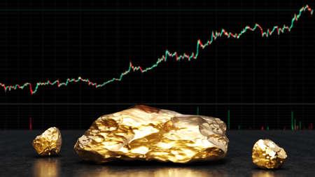 Piece of gold. Bank or financial market concept. 3d rendering 版權商用圖片