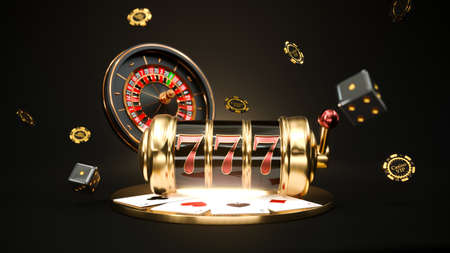 Casino background. Slot machine with roulette wheel. Falling poker chips. Online casino concept. 3d rendering 版權商用圖片