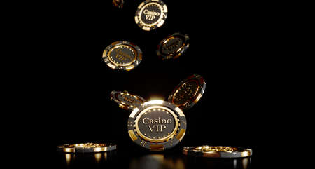 Casino chips on black background. Casino game golden 3D chips. Online casino background banner or casino logo. Black and gold chips. Gambling concept, poker mobile app icon. 3D rendering. 版權商用圖片