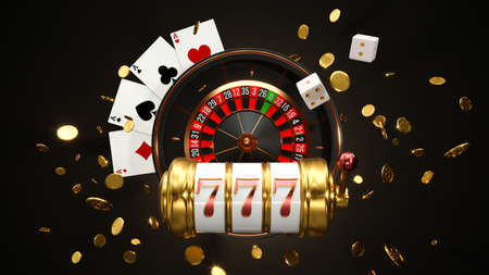 Casino background. Slot machine with roulette wheel. Online casino concept. Falling poker chips. 3d rendering 版權商用圖片