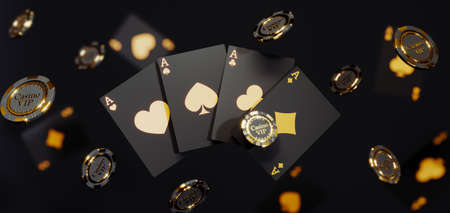 Luxury casino golden chips and cards. Poker chips falling Premium Photo