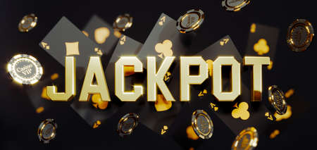Luxury casino golden chips and cards with 3d Jackpot sign. Poker chips falling Premium Photo