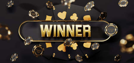 Luxury casino golden chips and cards with 3d Winner sign. Poker chips falling Premium Photo 版權商用圖片