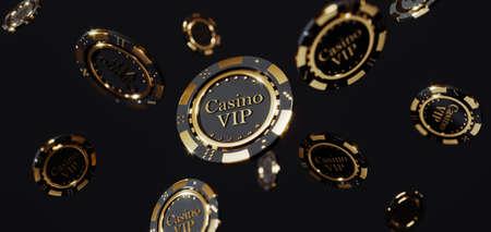 Luxury casino golden chips. Poker chips falling Premium Photo