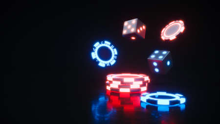 Casino chips. Neon online poker chips falling 3d rendering